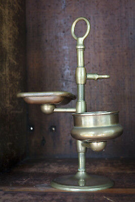 Vintage Art Deco Brass soap cup and tooth brush stand