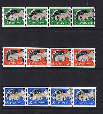 Australian Decimal Coil Stamps 1966 QE11 3c Green, 4c Red, 5c Blue MNH Strips 4