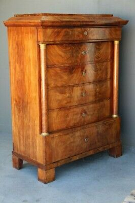 Antique Empire tallboy chest drawers ormolu columns mahogany Biedermeier 1810