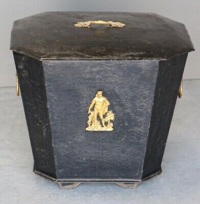 Antique Empire toleware lidded box wine cooler cellarette casket 1820 original