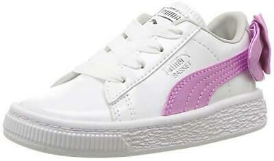 8dcc1e553cea64 Puma Basket Bow Patent AC PS 36762202 White Pink Orchid Gray Kids Girls  Shoes