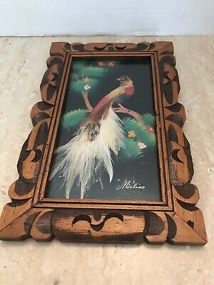 Vintage Mexican Folk Art Feathercraft Bird Feather Picture Carved Frame