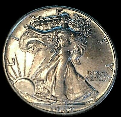 1942 D Walker Walking Liberty Half Dollar AU About Uncirculated + Free Shipping!