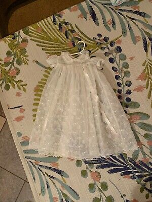 LOVELY Vtg/Antique Christening Gown/Cotton/Eyelet/Pintucks/Embroidered/Antique
