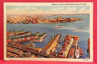Postcard MA Boston Harbor 1934 General View of Waterfront Seaport Ships Docks A3