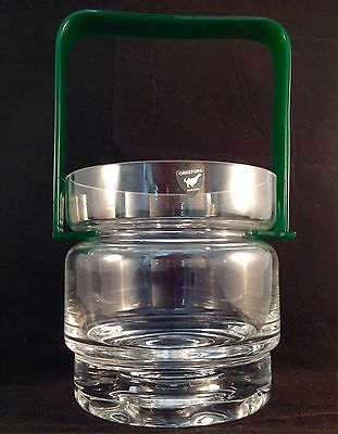 VINTAGE Retro ORREFORS SWEDEN Hooped GLASS CRYSTAL ICE BUCKET Plastic Handle