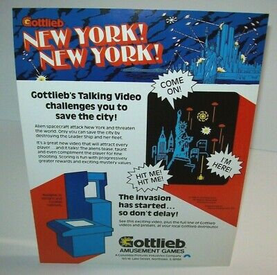 Gottlieb NEW YORK NEW YORK Original 1980 Video Arcade Game Promo Sales Flyer