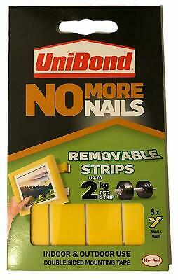 UNIBOND NO MORE NAILS REMOVABLE STRIPS 5 Pack Indoor 20x40mm POWER OF NAILS