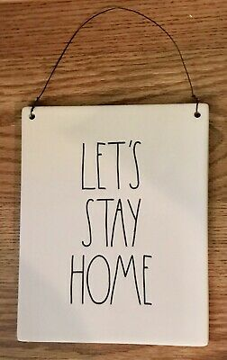 New Rae Dunn By Magenta Let'S Stay Home Wall Plaque Hanging Sign