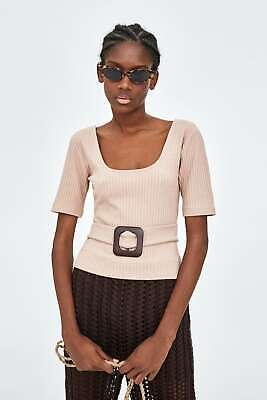 0bfdeb7cae ZARA WOMEN BEIGE Ribbed Buckled Top New With Tag Size L -  19.50 ...
