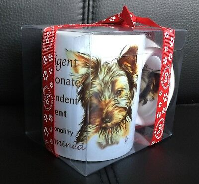 YORKSHIRE TERRIER dog white tea coffee mug ceramic and coaster gift set