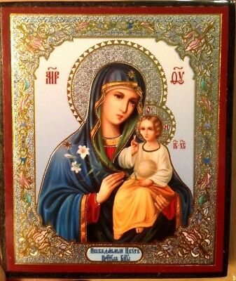 mini RUSSIAN ORTHODOX icon of the mother God the UNFADING blossom    6x7 sm