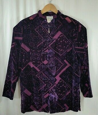 Coldwater Creek Purple Crushed Burn Out Velvet Frog Closures Shirt Top Women's L