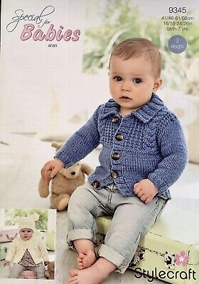 Stylecraft 9345 Baby Knitting Pattern Cardigans And Hat And In Aran