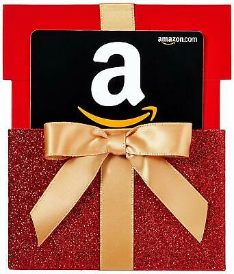 Amazon.com Gift Card in a Red Gift Box Reveal - $15 to $100