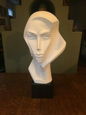 Rare Art Deco Modernist Austin Productions Large Bust Woman Sculpture by Fisher