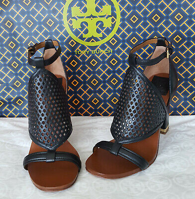 4fcdee1b2ca0 NIB TORY BURCH DORIS 100mm HIGH HEEL SANDAL ANKLE STRAP BLACK LEATHER SHOE  8 M