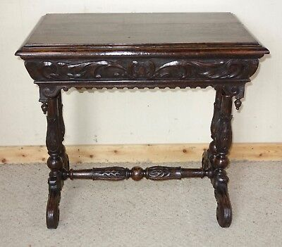 Victorian Carved Dark Oak Dolphin Centre Table, nationwide delivery