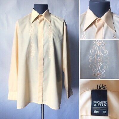"Vintage 1970s Prova Yellow Embroidered Dress Shirt Collar 16.5 Chest 42"" 44"" L"