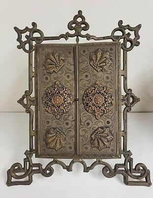 Antique Italian Bronze Folding Photo Frame with Stand Ornate Appliques