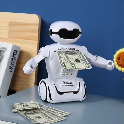 Electronic Password Robot Piggy Bank Safe Lighting Music Coin Cash Save Toy Gift
