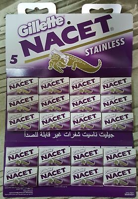 100 pcs Gillette NACET STAINLESS Double Edge Razor Blades Made in Russia