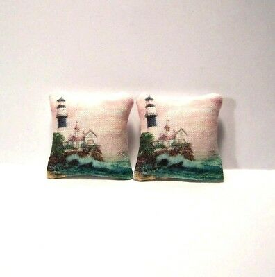 Miniature Decorative Throw Pillows Dollhouse Diggs Beach Ocean Palm Nautical