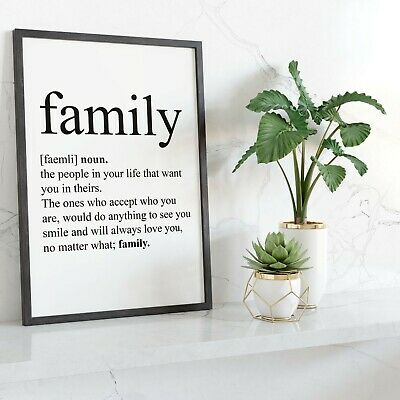 DEFINITION OF FAMILY Wall Print | Home Decor Wall Art Idea Ideas Picture Poster