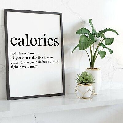 CALORIES Wall Print | Kitchen / Dining Room Home Decor Picture Art | A4, A5
