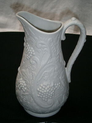 Large White Bisque Jug With Embossed Grape Vine Design - Portmeirion England