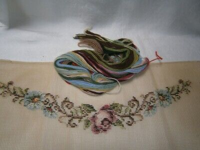 51cm x 21cm TRAMMED TAPESTRY TO BE COMPLETED + WOOLS -SHABBY PINK ROSE CHIC