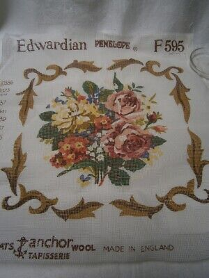 38cm CUSHION TAPESTRY CANVAS TO BE WORKED - EDWARDIAN FLORAL BOUQUET DESIGN F595