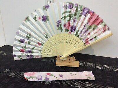 Japanese Silk Hand Fan-Floral Design with Silk Fan Holder - White N03