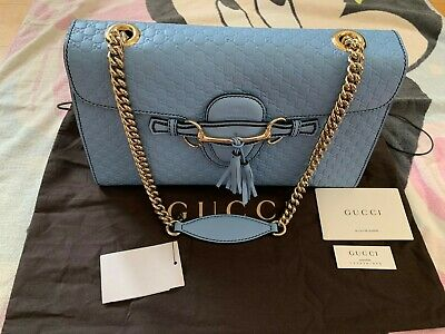 66b4126a1 NWT GUCCI EMILY Guccissima Chain Shoulder Bag in Miner Blue ...