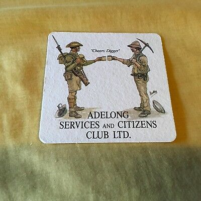 "Collectable drink coasters-""ADELONG SERVICES AND CITIZENS CLUB"" Good condition"
