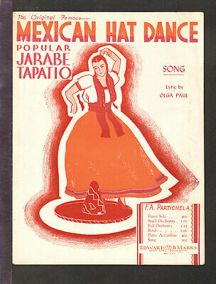 MEXICAN HAT DANCE Jarabe Tapation 1947 in ENGLISH Vintage Sheet Music Q19
