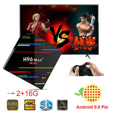 New Android 9.0 H96 Max+ Quad Core RK3328 2+16G Smart TV Box WIFI USB 4K Network