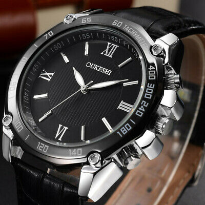 Men Luxury Stainless Steel Military Sport Watch Leather Band Dial Hot Sale Watch