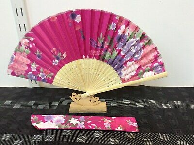 Japanese Silk Hand Fan-Floral Design with Silk Fan Holder - Hot Pink N08