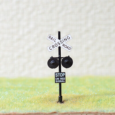 1 x HO Scale railroad grade crossing signals LED made 2 target faces black #X