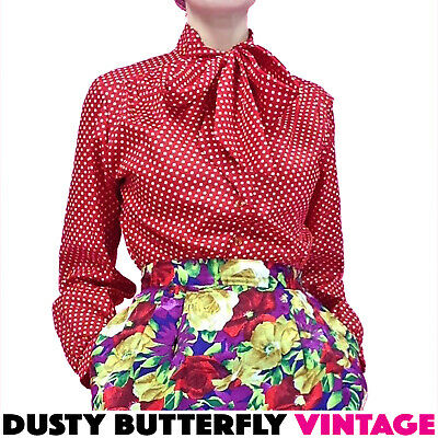 d810824e1 VINTAGE 70s BLOUSE Pussy Bow Neck Tie POLKA DOT Long Puff Sleeve RETRO Shirt  M L