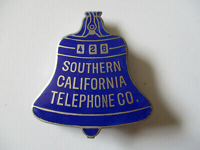 vintage 1930s Bell Southern California Telephone Co Employee ID Metal Badge Pin