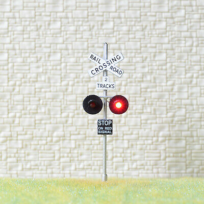 1 x OO Scale 2 track railroad grade crossing signal LED made 2 target silver #X