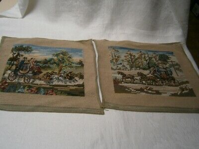 2 VINTAGE 23cm x 27cm TRAMMED PETIT POINT TAPESTRY TO COMPLETE HORSE & CARRIAGE