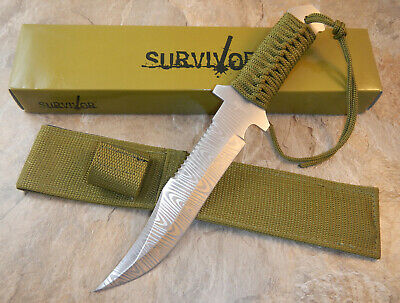 """12"""" TACTICAL HUNTING Damascus FIXED BLADE Army Bowie KNIFE w/ SHEATH HK-612"""