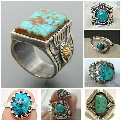 Wholesale Antique Handmade 925 Silver Turquoise Ring Women Men Vintage Jewelry