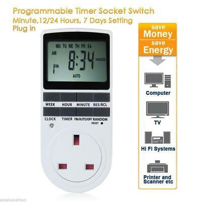 Digital LCD Display UK Plug In Programmable Timer Switch Socket 24hr 7Day SP