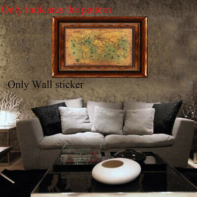 Poster Pictures Retro Old Wall Sticker Nautical Ocean Kraft Vintage World Map