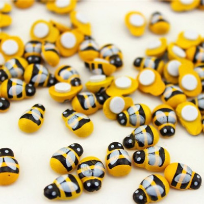 100Pcs Mini Bees Self Adhesive Wooden Bumble Ladybug Craft Card Toppers  9x12mm