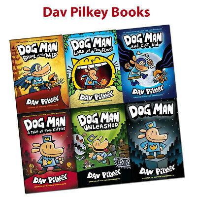 Dav Pilkey Adventures of Dog Man Series 1-6 Books collection set Children's pack